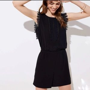 Ann Taylor Loft Black Crochet Lace Trim Romper XS